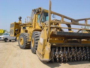 """The """"Iron Wolf,"""" a 50 ton rototiller used to incorporate almond orchards."""